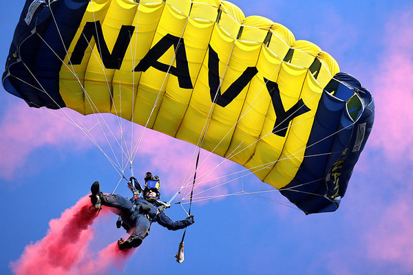A Navy SEAL parachute team member drifts his way toward the crowd prior to the 108th Army Navy football game at M&T Bank Stadium in Baltimore on Saturday, Dec. 01, 2007. Chris Ammann/Examiner