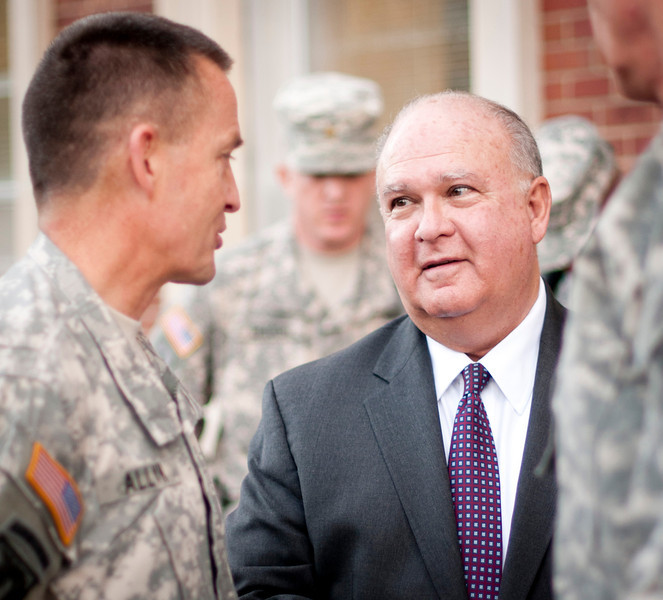 Lt. Gen. Daniel B. Allyn, XVIII Airborne Corps and Fort Bragg commanding general speaks with Under Secretary of the Army Joseph W. Westphal during a recent trip by Westphal to gain greater situational awareness of key Army initiatives, 4 Dec. 2012, Fort Bragg, N.C.  The purpose of Dr. Westphal's trip was to highlight the vital role of Fort Bragg as the Army transforms and prepares for future requirements, to reinforce the importance of Decisive and Sustainable Land power and the Army's role in the Joint Force, and to underscore the extensive capabilities and interdependence of combined operations between Army Conventional and Special Operations Forces.  (U.S. Army photo by Staff Sgt. Bernardo Fuller)