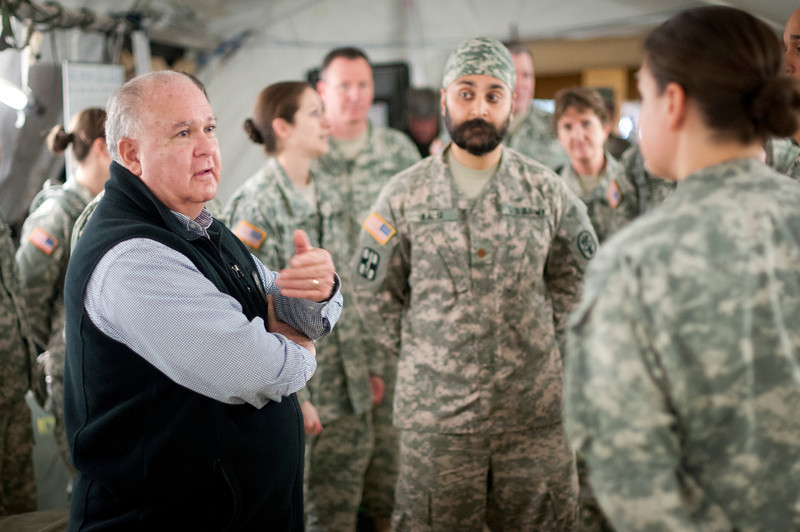 Under Secretary of the Army Joseph W. Westphal talks to Soldiers of the 115th Combat Support Hospital, including Maj. Kalsi Kamal, DO, (middle), who are training with simulated casualties at the Joint Readiness Training Center (JRTC), 19 October 2012, Fort Polk, La.  The purpose of Dr. Westphal's visit to the JRTC was to underscore the extensive capabilities and interdependence of combined operations between Army Conventional and Special Operations Forces as well as to highlight the vital role of the JRTC as the Army trains Soldiers for current missions and prepares for future requirements. (U.S. Army photo by Staff Sgt. Bernardo Fuller)
