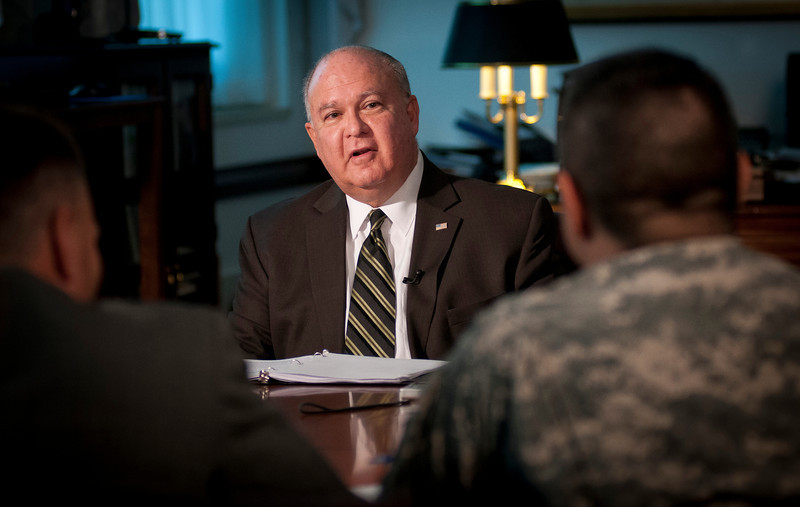 Under Secretary of the Army Joseph W. Westphal discusses the Army's Business Transformation and the value of collaborating with industry on best business practices with the Army News Service and Army Broadcasting at the Pentagon, 16 Oct. 2012, Washington, DC.  (U.S. Army photo by Staff Sgt. Bernardo Fuller)