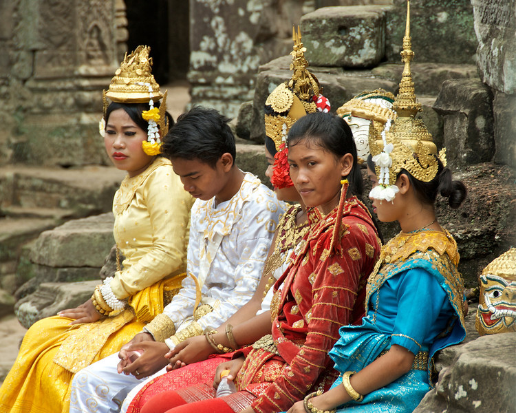 They're waiting for tourists to pay to pose with them.<br /> <br /> Angkor Wat, Cambodia