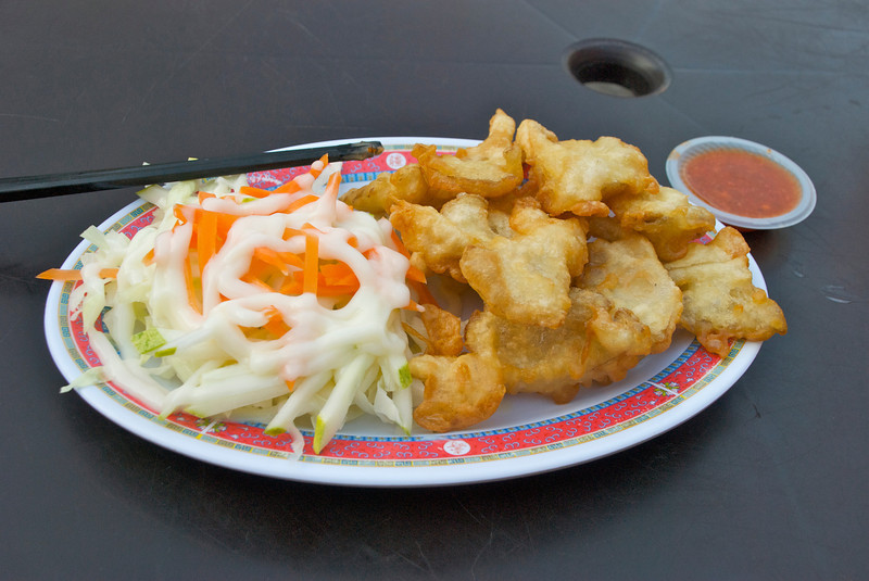 Fried mushrooms with dipping sauce and a small salad(?). I could have grazed on this block for hours.<br /> <br /> Kuala Lumpur, Malaysia