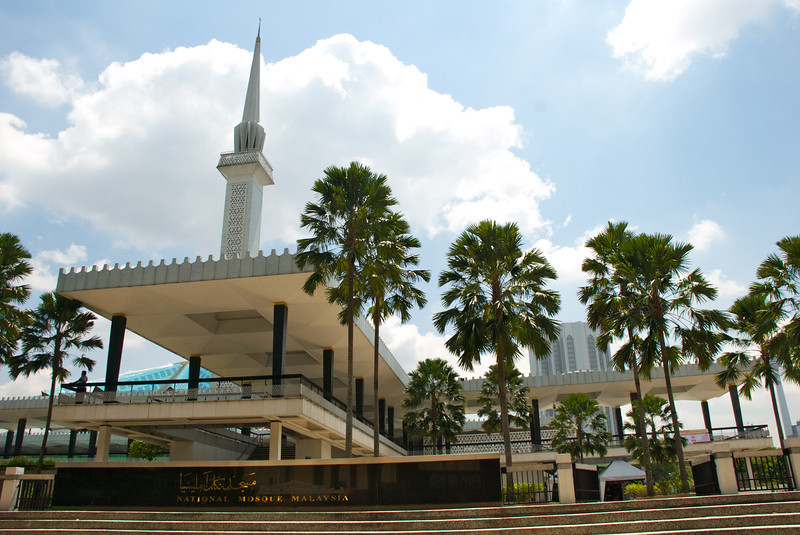 The National Mosque. This shot doesn't do justice to the amazing and symbolic design of the building.<br /> <br /> Kuala Lumpur, Malaysia