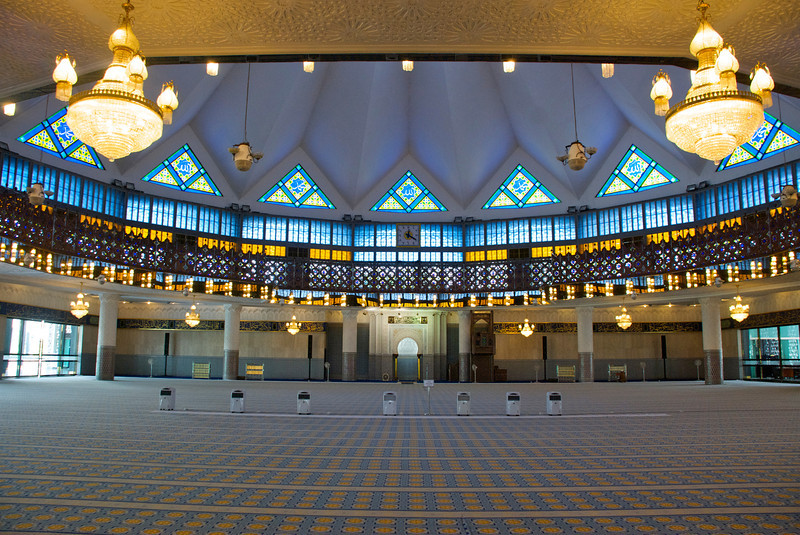 The beautiful interior of the National Mosque.<br /> <br /> Kuala Lumpur, Malaysia