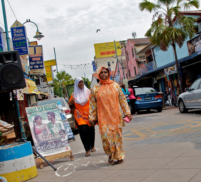 "The streets of the section known as ""Little India"" are quite colorful, loud (note loudspeaker on left), and interesting.<br /> <br /> Penang, Malaysia"