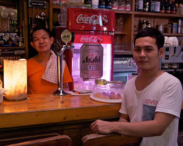 Workers at a nice quiet cafe at the Chatuchak (or JJ) Weekend Market in Bangkok.<br /> <br /> Bangkok, Thailand