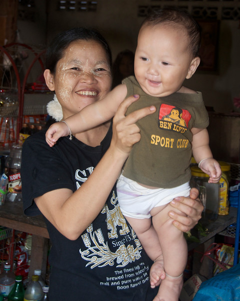 Villager and her child.<br /> <br /> Laiwo, Thailand