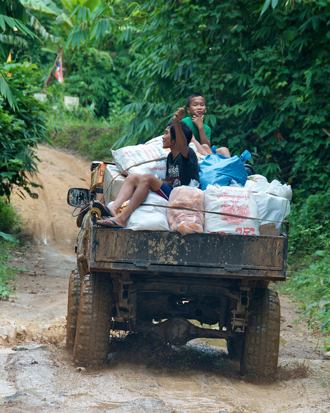 I don't think this truck was going all the way to the village; the road turned pretty bad a little further on...<br /> <br /> Laiwo, Thailand