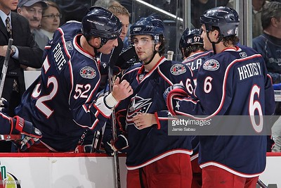 COLUMBUS, OH - JANUARY 11: Rookie Derick Brassard #16 of the Columbus Blue Jackets receives instructions from Adam Foote #52 of the Blue Jackets on January 11, 2008 at Nationwide Arena in Columbus, Ohio.  (Photo by Jamie Sabau/NHLI via Getty Images)