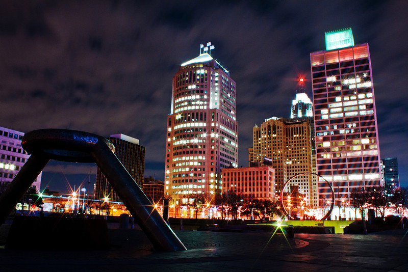 Detroit 12.7.11<br /> <br /> I spend a lot of time in Detroit for work and pleasure. This night the clouds were outstanding and the weather was very nice for December. I spent a couple hours going around and capturing some of my favorite spots, this photo was captured in Hart Plaza.