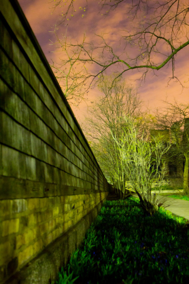 """Oak Park IL 4.7.11<br /> <br /> I was in the Chicago area for work and I was visiting some friends, one of my friends told me there is a Frank Lloyd Wright house in Oak Park. It was only about 5 miles from where we were so I decided to check it out. I knew of FLW but had never really paid much attention to his work. When I arrived I kind of thought """"ok it's a house what's the big deal"""" Then I started to take some photos and really spent some time there. About 45 minutes after arriving I finally had that moment were I got it. I actually started to see all the angles and how they all seemed to be perfect and that every piece of landscape was tied to the house. I plan on going to many more of his houses and have a new respect for the work he did. I could have spent all night shooting just this one house. <br /> <br /> <br /> This is a shot of the fence line and sky. I have many more photos of the house in the FLW gallery."""