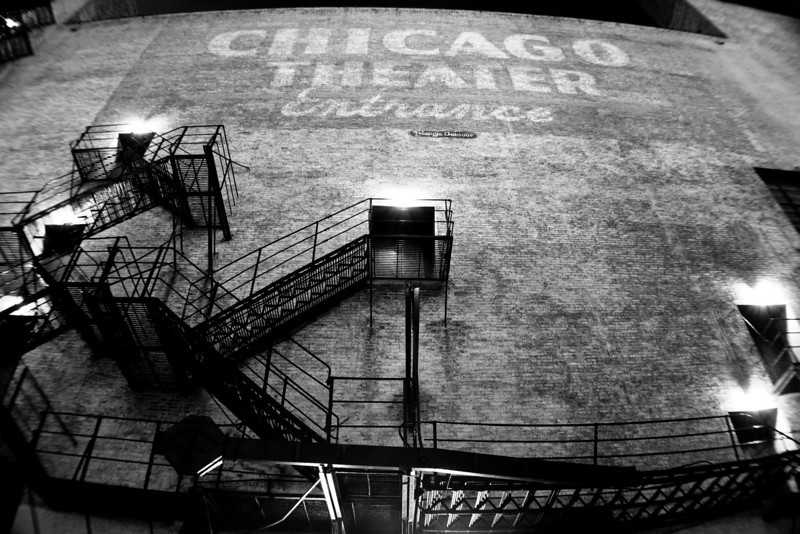 Chicago 4.6.11<br /> <br /> It was tough to pick a photo this week. I shot in Chicago 3 nights and an insane asylum in Northville, MI, but this is the photo I chose. <br /> <br /> I was working in Hammond for 4 days that week and decided that every night I would go into Chicago and capture the city. The first night I went to Millennium Park and shot around there. The second night I started at the Chicago Theater. I shot the front of the theater and then decided to walk down the alley next to it. After shooting a few shots I was just about to move on to a new location when I looked up and saw this shot.