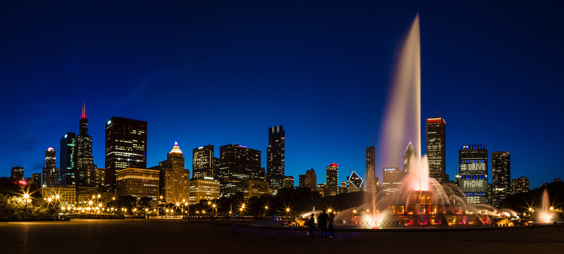Chicago IL - Buckingham Fountain and the skyline just after sunset.