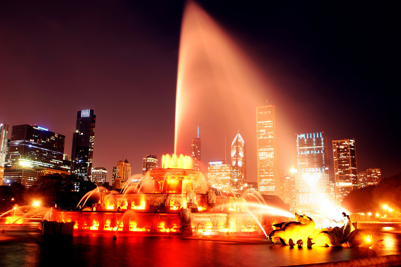 Chicago Buckingham Fountain – September 2010<br /> <br /> I went back to September 2010 for this week's photo of the week. This was the first time I decided to give long exposure a try. The very basics of that are when you leave the shutter open for an extended period of time. It took me about ten minutes of messing with the settings to get this shot. Not too bad for my first attempt. After I saw the results of this shot I got hooked on long exposure city shots and it has become one of my favorite things to shoot!
