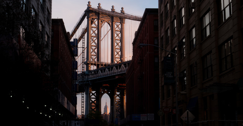 Sunrise - Manhattan Bridge - NYC 2012<br /> <br /> This is a shot I have wanted to capture for a couple years. A friend of mine (Larry) and I saw a similar photo of this when we were going to NYC in 2010. When I arrived to capture it then, there was construction on the road and I couldn't get the shot I wanted. <br /> <br /> So I went back to the spot when I was there in October 2012 and captured this image.