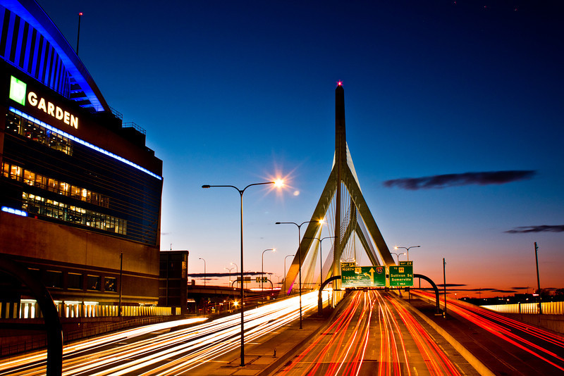 Zamik Bridge - Boston MA - 4.5.12<br /> <br /> I had driven by this bridge many times in my first two weeks in Boston and knew I wanted to capture it at sometime. On this evening the sunset was perfect. This was about 30 minutes after sunset and the blues were very rich along with the red/maroon sunset still lingering on the horizon.
