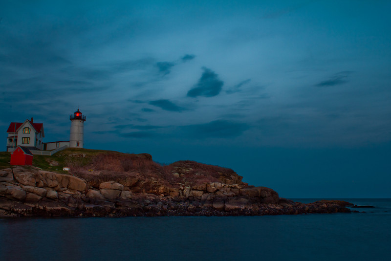 Cape Neddick Maine, 4.10.12<br /> <br /> I decided to head up to Maine from Boston for a lobster dinner and then I came across this lighthouse and by the time I was done everywhere near there was closed. I had to wait until the following night for my Lobster dinner, but it was worth the wait to get this shot. <br /> <br /> I have photographed many lighthouses and this is the first that almost took my breathe away. If I'm ever back in this area I will make a special trip to see it again.
