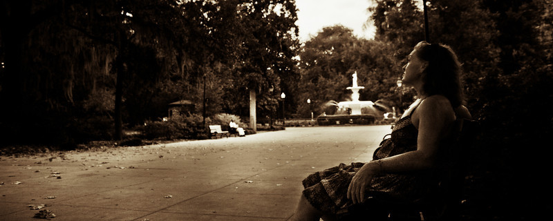 Savannah GA<br /> <br /> Diane relaxing on a bench near the fountain in Forsyth Park