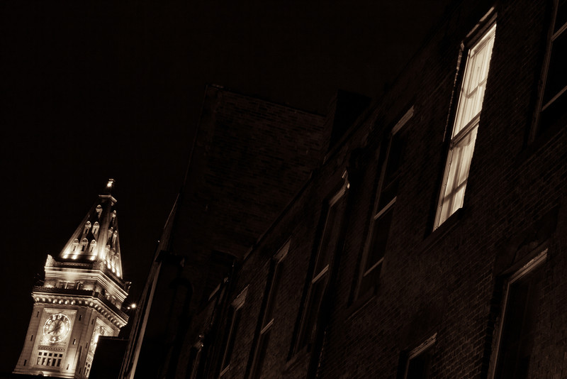 This is from my 3rd week in Boston. I was in the older part of town capturing the Pub's when I came across this alley with the light on in one window, and was able to find an angle to capture the clock tower in the background as well. This is one of my favorite shots from the Boston trip.