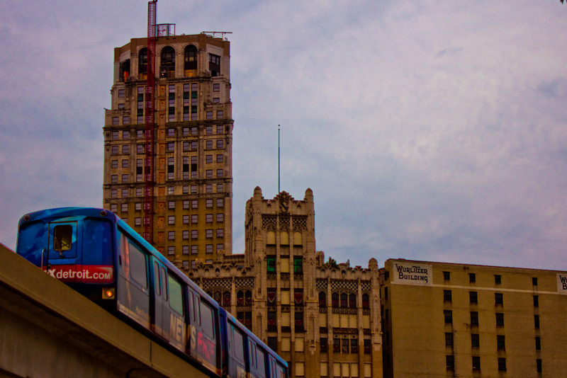 Detroit MI<br /> <br /> I'm in Detroit often and love to shoot the city. I seem to always find a new area that interest me. Out of the hundred of times I have shot here, I never got a shot of the people mover. I was driving along and saw this image, so I pulled over and waited for the next train to come through.