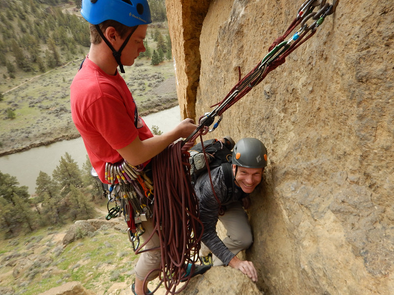 "Math teacher Judson Ford joins his son, senior Brett Ford, at a hangout high up on Smith Rocks during the Outdoor Club's Spring Break climbing trip to Eastern Oregon.  See more images of the daring climbers and the spectacular landscapes they conquered at <a href=""https://saintgeorges.smugmug.com/Athletics/US-Rock-Climbing-4-7-17/"">https://saintgeorges.smugmug.com/Athletics/US-Rock-Climbing-4-7-17/</a>"