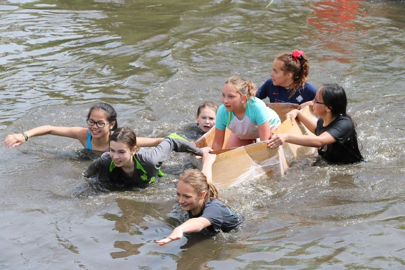 "The 6th grade class had one final water-themed project to complete.  They built boats out of cardboard big enough for a student to ride in, then took them out to the Little Spokane River to race their creations on Tuesday, June 6.  See a Photo Gallery of the happy, soggy students on their final day of class!  <a href=""https://saintgeorges.smugmug.com/Academics/MS-6th-Cardboard-Boat-Races-6-6-17/"">https://saintgeorges.smugmug.com/Academics/MS-6th-Cardboard-Boat-Races-6-6-17/</a>"