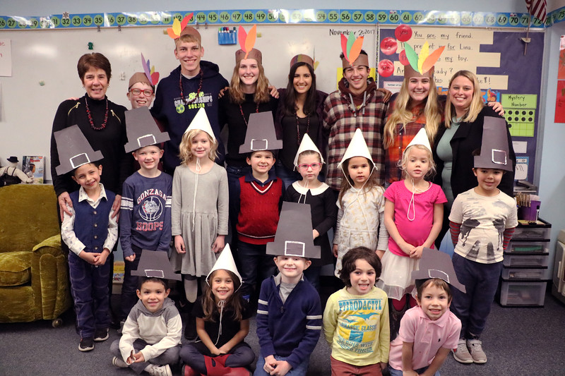 "The annual Kindergarten celebration of Thanksgiving on Nov. 20 featured Pilgrim games and a feast with their ""Indian Buddies"" -- the SGS seniors who started in kindergarten 12 years ago!  See more photos of their feast at <br /> <a href=""https://saintgeorges.smugmug.com/Community/LS-K12-Thanksgiving-Feast-11-20-17/"">https://saintgeorges.smugmug.com/Community/LS-K12-Thanksgiving-Feast-11-20-17/</a>"