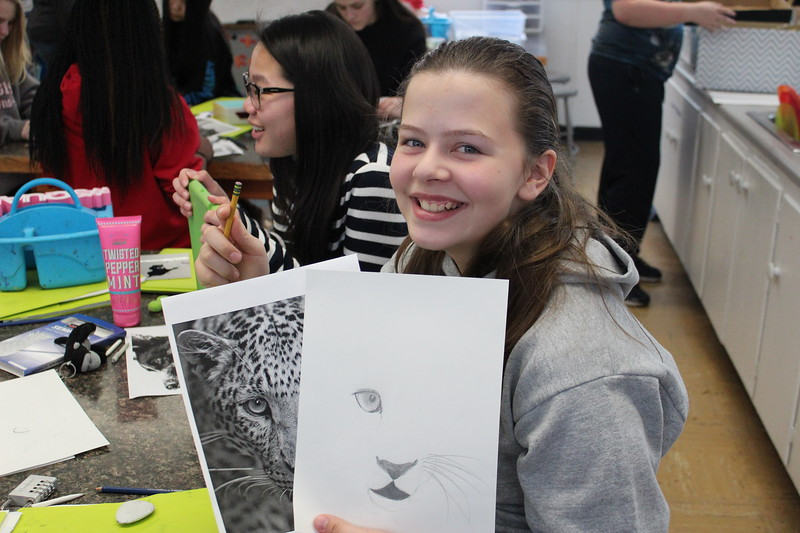 "Looks like the eye of the jaguar!  The 7th graders spent time shading and drawing sketches in their art class on Feb. 22.  See more photos of this creative class at <a href=""https://saintgeorges.smugmug.com/Arts/MS-7th-Art-Class-2-22-18/"">https://saintgeorges.smugmug.com/Arts/MS-7th-Art-Class-2-22-18/</a>"