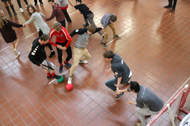 "The Upper School courtyard turned into a Human Foosball game on Friday, Jan. 26 in anticipation of Spirit Week and the Battle for the Holy Grail on Feb. 2.  Read more about the Holy Grail competition at <a href=""https://www.sgs.org/news/detail.php?id=441"">https://www.sgs.org/news/detail.php?id=441</a>"