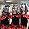 """The SGS Middle School students and staff found plenty of costumes for Halloween, including these three who dressed up for the Mexican Day of the Dead celebration.  See more Middle School costumes at <br /> <a href=""""https://saintgeorges.smugmug.com/Community/Halloween-Parade-10-31-18/"""">https://saintgeorges.smugmug.com/Community/Halloween-Parade-10-31-18/</a>"""