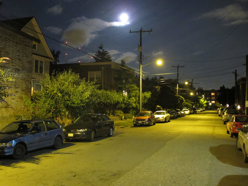 Wednesday, July 13, 2011. Capitol Hill streets lit up by a full moon on a balmy summers night.