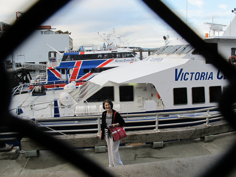 Wednesday, June 22, 2011. Mom, pausing before boarding the Victoria Clipper ferry on a whale watching trip.