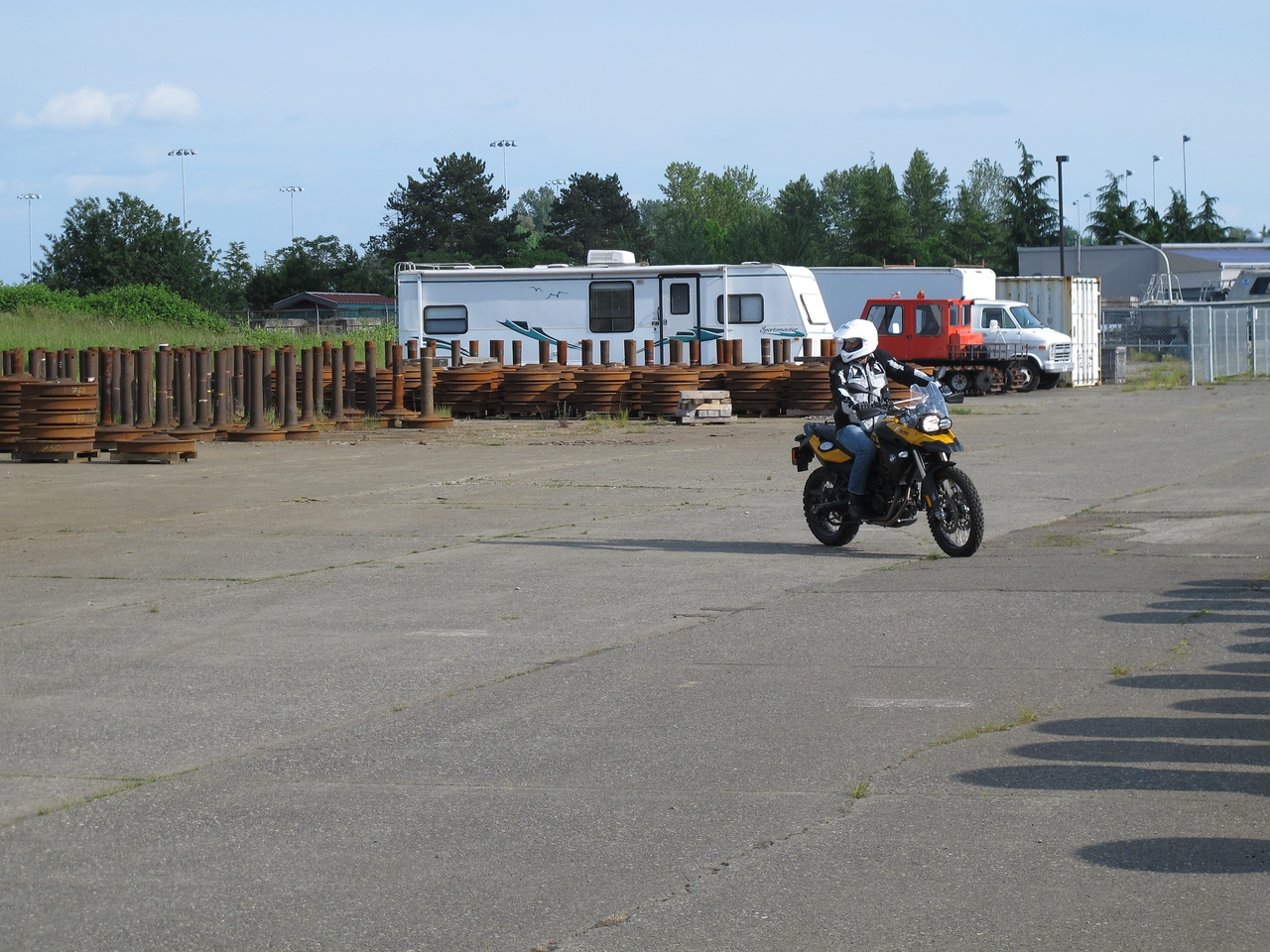 Monday, June 6, 2011. After work I helped a colleague familiarize himself with his new motorcycle.