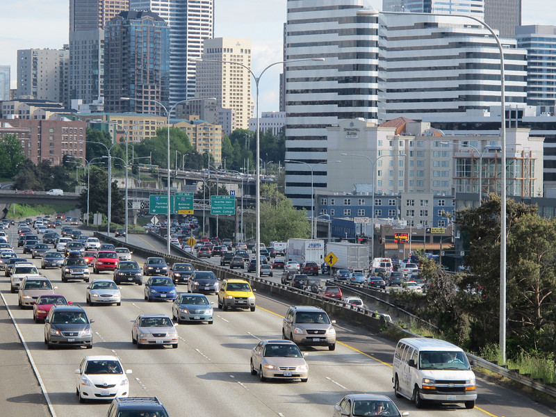 Tuesday, May 31, 2011. Interstate 5 traffic through Seattle. The reason I choose to commute to work by bicycle.