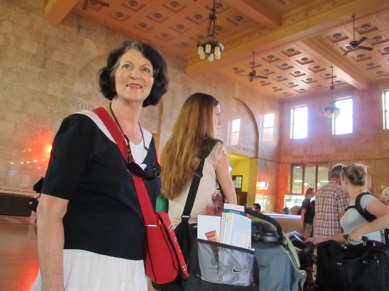 Saturday, July 2, 2011. Mom about to board a train from Portland to Seattle. Photo taken in the Portland train station.