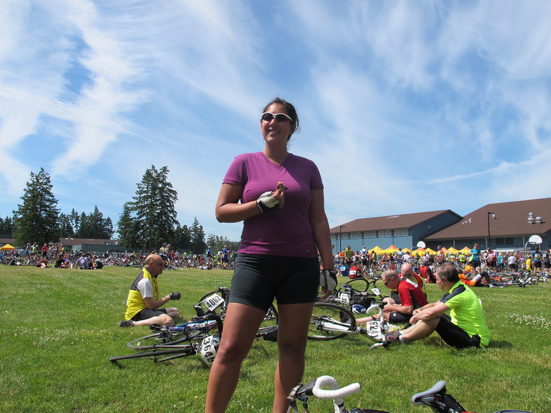 Saturday, July 9, 2011. Nancy looking good after completing the first 50 miles of the Seattle to Portland ride we were participating in. This foodstop in Spanaway is the lunchtime stop, and the halfway mark on the first day.