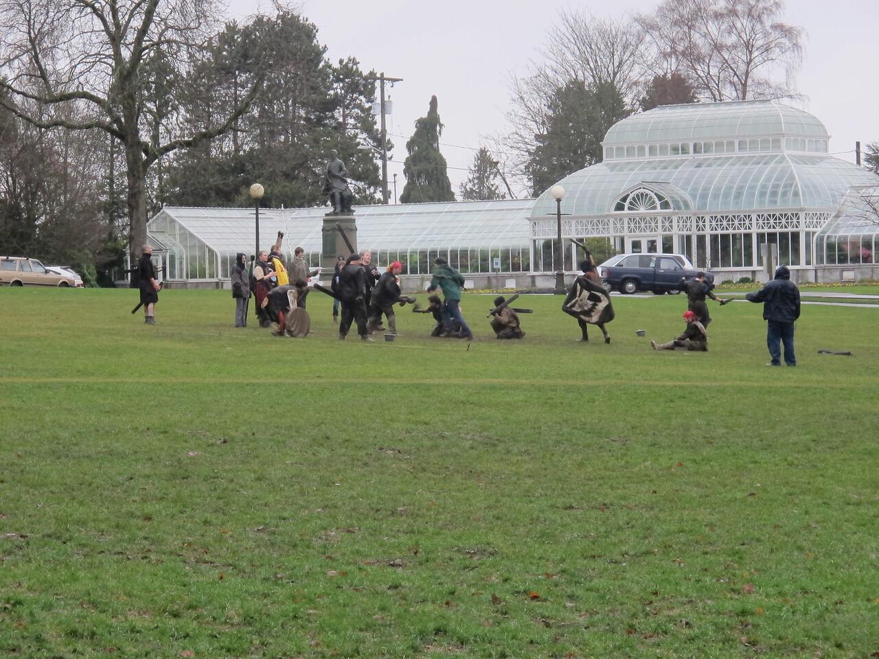 Medieval battle in Volunteer park.