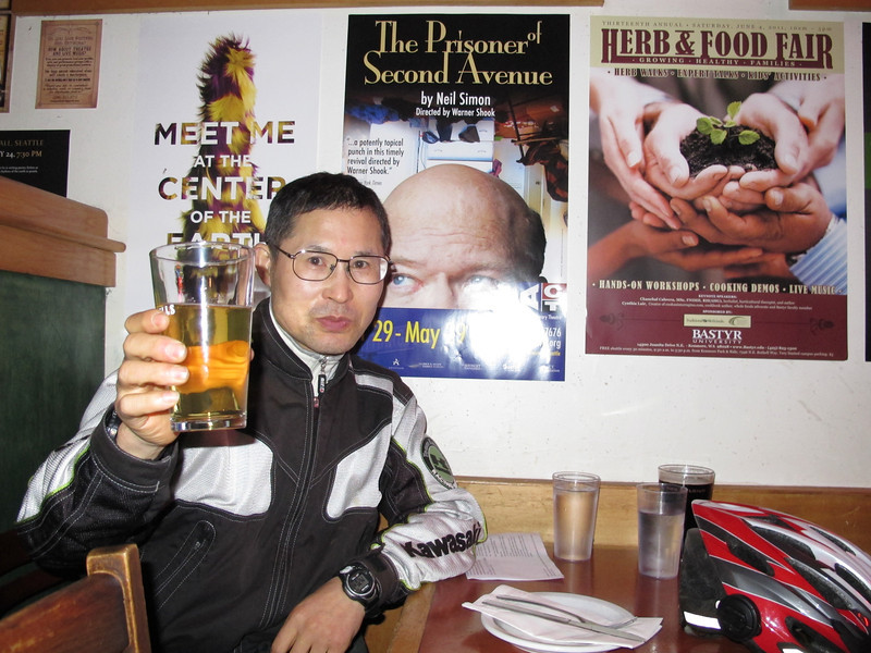 Friday, June 3, 2011. Katsutoshi Yagasawa arrives at my home every year before his motorcycle trips across the USA. Arriving home today, Katsutoshi was there. We had dinner and beers before he headed out.