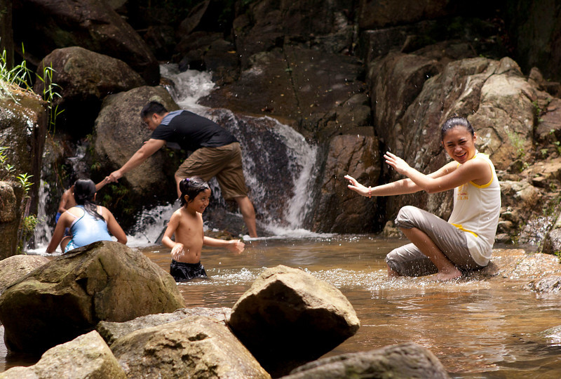 Family splash at Silvermine Waterfall ( model release received)