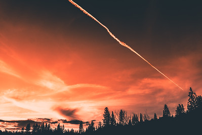 Jet Trails at Sunset, Bass Lake, CA