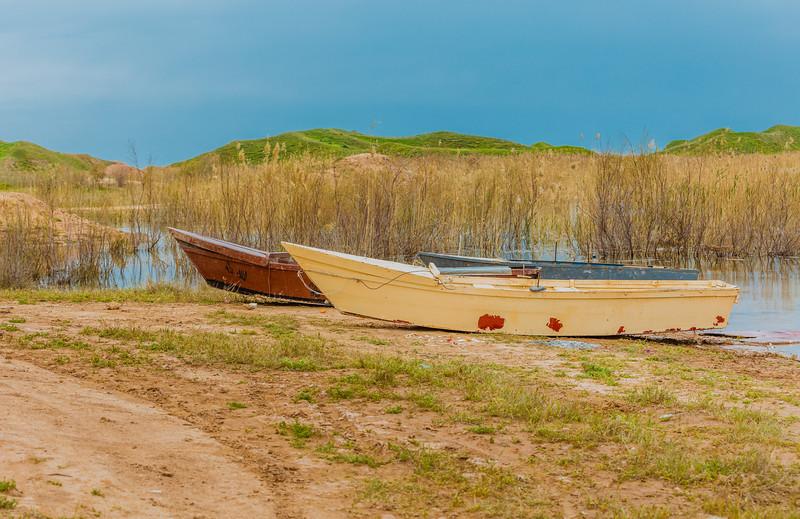 Old boats in Iraqi seaside in Kurdistan region