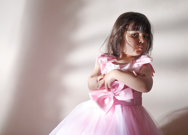 Small baby in summer pinky bride dress
