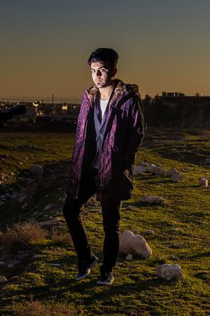 Iraqi boy at night