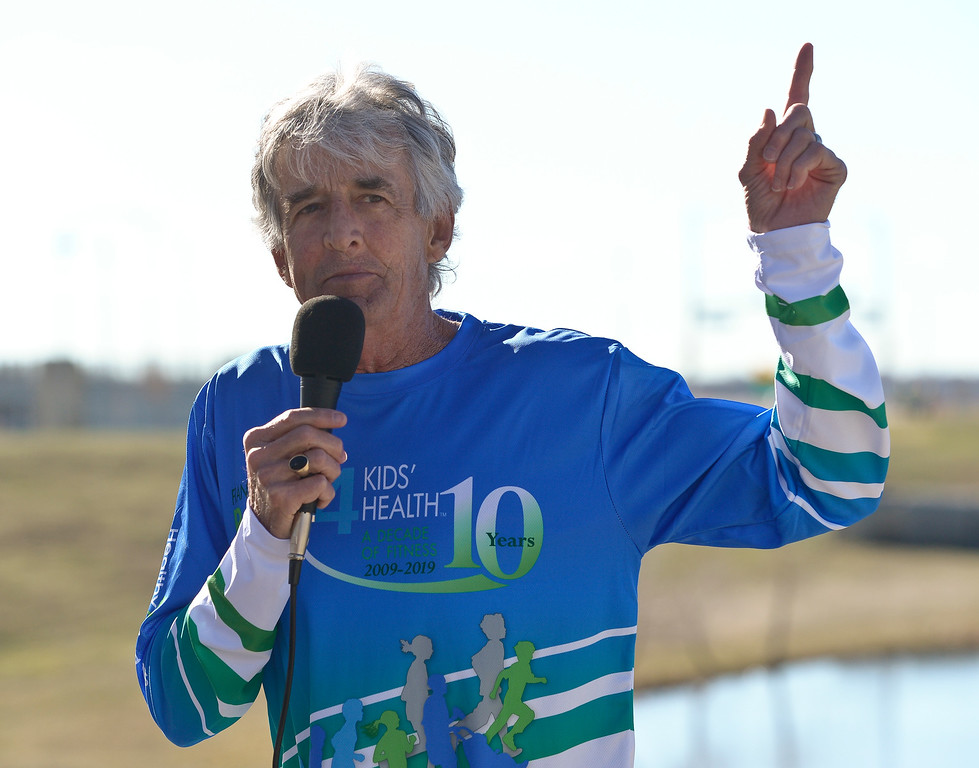 . BROOMFIELD, CO - APRIL 7: Frank Shorter addresses the racers before the start of the Frank Shorter RACE4Kids\' Health 5K & Expo at the 1st Bank Center April 7, 2019. RACE4Kids was celebrating its 10th anniversary. To view more photos visit dailycamera.com. (Photo by Lewis Geyer/Staff Photographer)