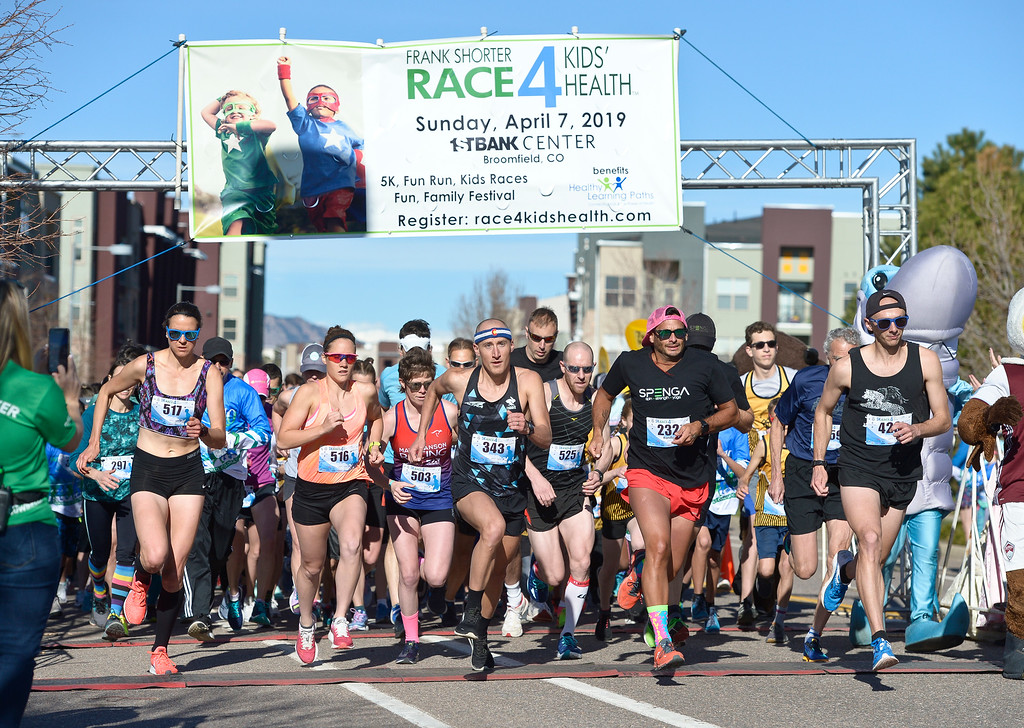 . BROOMFIELD, CO - APRIL 7: The start of the Frank Shorter RACE4Kids\' Health 5K & Expo at the 1st Bank Center April 7, 2019. RACE4Kids was celebrating its 10th anniversary. To view more photos visit dailycamera.com. (Photo by Lewis Geyer/Staff Photographer)