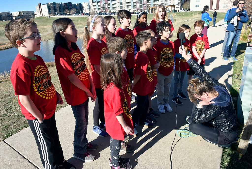 . BROOMFIELD, CO - APRIL 7: The Adventure Choir sings the National Anthem at the start of the Frank Shorter RACE4Kids\' Health 5K & Expo at the 1st Bank Center April 7, 2019. RACE4Kids was celebrating its 10th anniversary. To view more photos visit dailycamera.com. (Photo by Lewis Geyer/Staff Photographer)