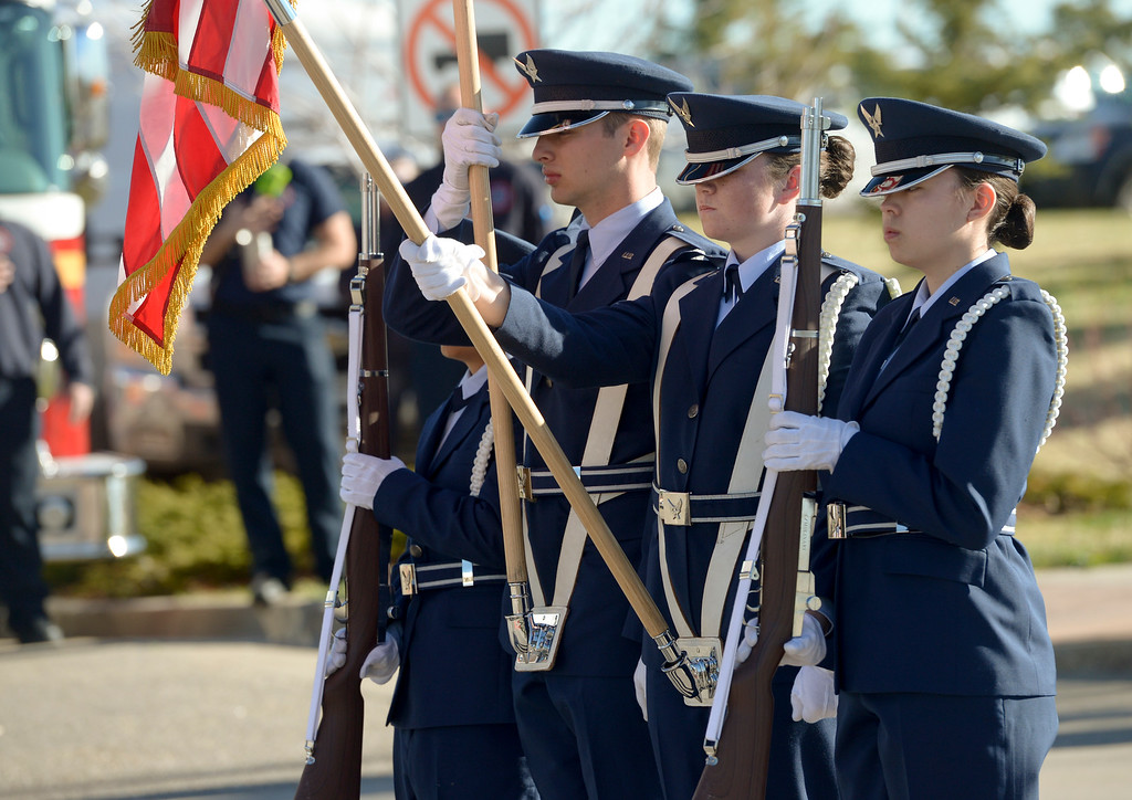 . BROOMFIELD, CO - APRIL 7: The color guard presents the American flag for the National Anthem at the start of the Frank Shorter RACE4Kids\' Health 5K & Expo at the 1st Bank Center April 7, 2019. RACE4Kids was celebrating its 10th anniversary. To view more photos visit dailycamera.com. (Photo by Lewis Geyer/Staff Photographer)