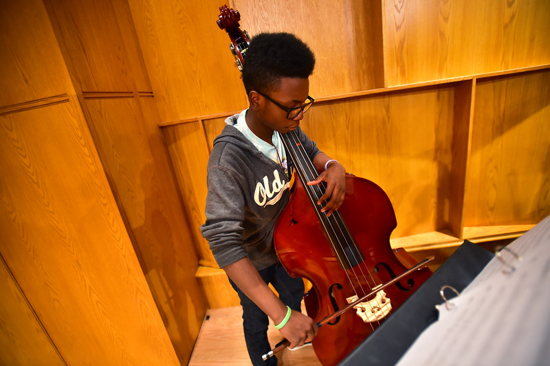 "Jason Stone, from Bruce Randolph School, plays the bass during rehearsal for the 14th Rocky Mountain Bass Festival at CU's Imig Music Building on Sunday.<br /> More photos:  <a href=""http://www.dailycamera.com"">http://www.dailycamera.com</a><br /> (Autumn Parry/Staff Photographer)<br /> October 2, 2016"