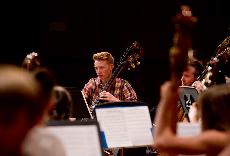"Baylor Brown, from Mesa Ridge High School, rehearses with the Monster Bass Ensemble at CU's Imig Music Building in preparation for the 14th Rocky Mountain Bass Festival on Sunday.<br /> More photos:  <a href=""http://www.dailycamera.com"">http://www.dailycamera.com</a><br /> (Autumn Parry/Staff Photographer)<br /> October 2, 2016"
