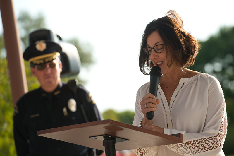 "Cathy Faughnan, talks about losing her husband, Chris Faughnan, who was among those killed in the terrorist attacks fifteen years ago, during a 9/11 memorial ceremony on Sunday.<br /> More photos:  <a href=""http://www.dailycamera.com"">http://www.dailycamera.com</a><br /> (Autumn Parry/Staff Photographer)<br /> September 11, 2016"